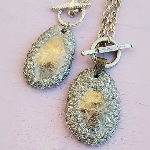 Faux,Pavé,and,Paper,Mache,Pendant,Necklace,with,Quartz:,Gilford,paper mache necklace, recycled paper jewelry, papier mache gifts, paper anniversary gifts, upcycled paper ideas, paper mache jewelry collection, quartz pendant, faux pavé pendant necklace