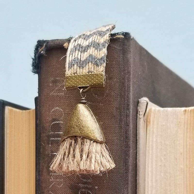 Beaded Natural Jute Chevron Ribbon Bookmark with Tassel: Watson - product images  of