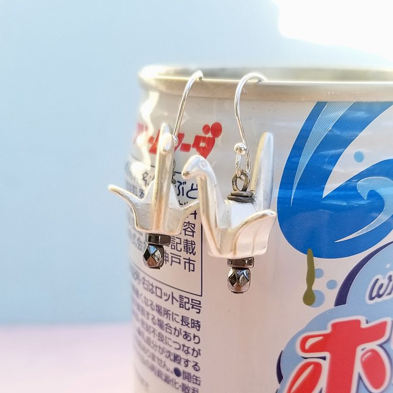 Silver Origami Paper Crane Dangle Earrings - product images  of