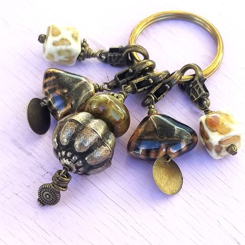 Large,Brass,Keyring,with,Removable,Charms:,Ezra,Big beaded keyring, large keyring with charms, african inspired keyring, ceramic beaded accessories, oversized brass keyring, gifts for men