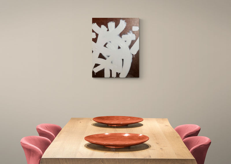 Original Bronze and White Abstract Acrylic and Oil Painting on Canvas: Equinox - product images  of
