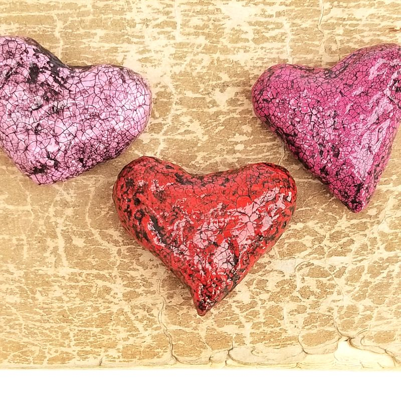 Paper Mache Heart Magnet, Set of Three Crackled Recycled Decor: Rebound - product images  of