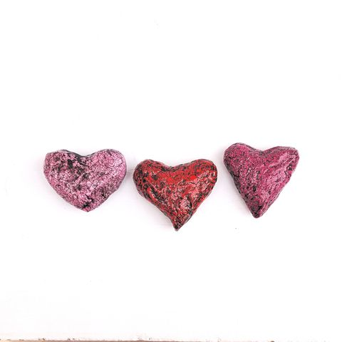 Paper,Mache,Heart,Magnet,,Set,of,Three,Crackled,Recycled,Decor:,Rebound,handmade paper mache magnets, handmade papier mache hearts, paper mache magnet set, broken heart accents, crackled heart paper mache magnets, paper mache home accents, eco friendly decor, valentine gifts
