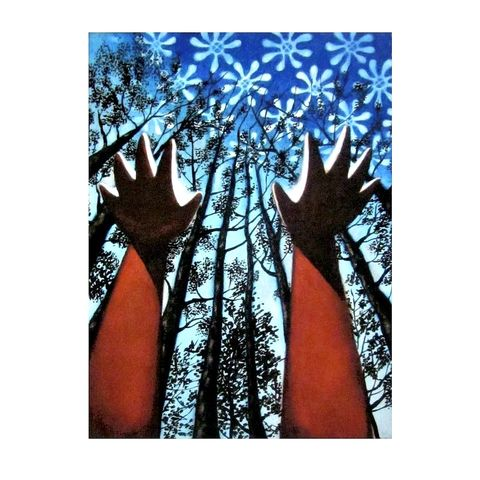 Watercolor,Sky,Trees,and,Hands,Abstract,Archival,Print:,Farthest,Reach,watercolor art, abstract watercolor painting, watercolor print, watercolor reproduction, reaching hands and trees painting, watercolor sky, affordable art print, black art, african american art, adinkra art, spiritual art