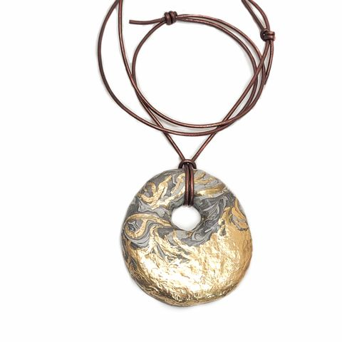 Bold,Marbled,Paper,Mache,Donut,Pendant,Necklace,on,Cord,with,Gold,Accents:,Theos,paper mache pendant necklace, recycled paper jewelry, papier mache gifts, paper anniversary gifts, upcycled paper gifts, paper mache jewelry collection
