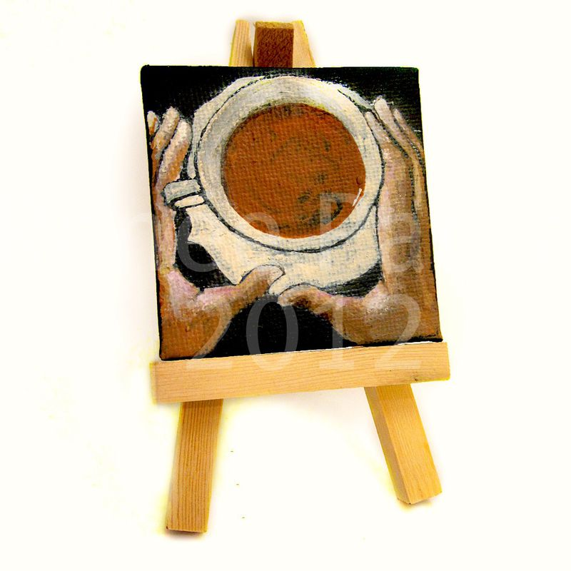 Mini Painting, Miniature Original Acrylic Coffee Cup on Canvas: Cup #001 - product images  of