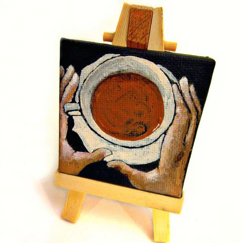 Mini,Painting,,Miniature,Original,Acrylic,Coffee,Cup,on,Canvas:,#001,mini painting, painting with easel, coffee cup painting, coffee painting, collectible painting, original painting, small painting, neutral color painting, serene painting, square painting, acrylic painting, painting by Renee Parker, cup with hands paintin