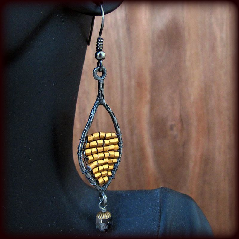 Gold Beaded Dark Silver Dangle Earrings: Golden Shields - product images  of