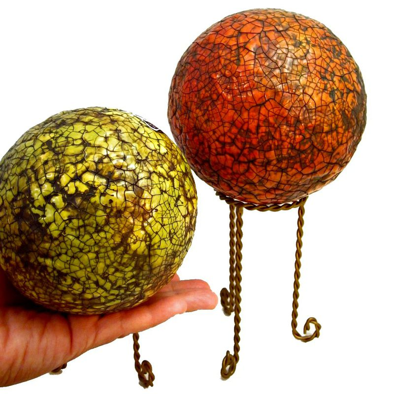 Papier Mache Accent Balls with Stands Set of Two Decorative Spheres: Celestial Orbs  - product images  of