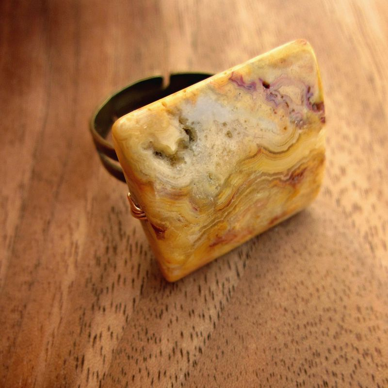 Adjustable Chunky Square Yellow Jasper Ring Gemstone Bead Queensland - product images  of