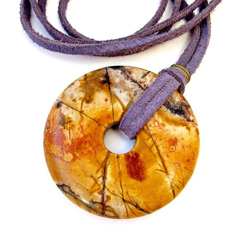 Long,Pendant,Necklace,,Chunky,Yellow,Mottled,Picasso,Jasper,on,Lavender,Suede,Cord,picasso jasper necklace, suede cord necklace, chunky donut necklace, pendant necklace, colorful stone necklace, natural stone necklace, long necklace, opera length necklace, bohemian necklace