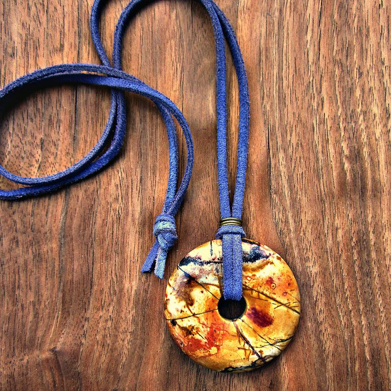 Long Pendant Necklace, Chunky Yellow Mottled Picasso Jasper Pendant on Lavender Suede Cord - product images  of