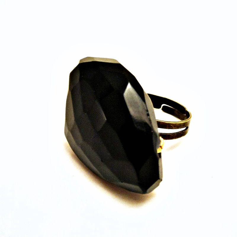 Giant Black Agate Gemstone Wired Wrapped Adjustable Ring: Cosmos - product images  of