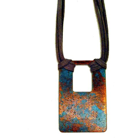 Adjustable,Necklace,,Copper,Pendant,on,Gray,Cord:,Blake,copper necklace, big necklace, cord necklace, gray necklace, pendant necklace, bohemian necklace, one of a kind necklace, chunky necklace, adjustable necklace, rustic necklace, metal necklace, square pendant, patinaed copper, blue gray copper necklace, di