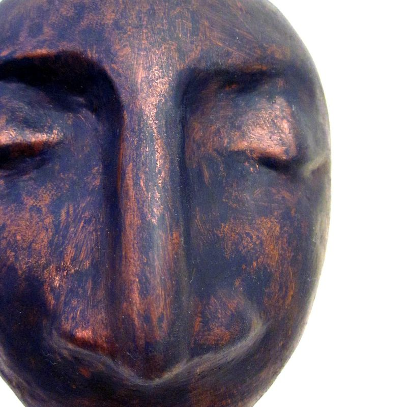 Abstract Bust Sculpture, Handmade Paper Mache Head in Copper and Midnight Blue: Sentinel - product images  of