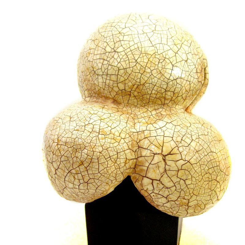 Popcorn Sculpture, Handmade Paper Mache Recycled Art Popcorn Kernel of Salvaged Materials: Cracked Corn - product images  of