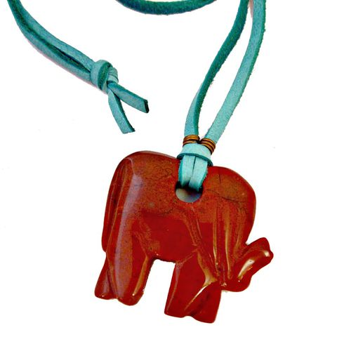 Long,Pendant,Necklace,,Chunky,Red,Jasper,Elephant,on,Turquoise,Suede,Cord,red jasper jewelry, elephant jewelry, elephant necklace, suede cord necklace, long necklace, colorful necklace, chunky pendant necklace, turquoise and red necklace, bohemian necklace, opera length necklace
