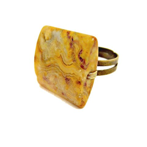 Adjustable,Chunky,Square,Yellow,Jasper,Ring,Gemstone,Bead,Queensland,jasper ring, yellow ring, gemstone ring, square ring, big ring, chunky ring, cocktail ring, costume ring, stone ring, adjustable ring, brass ring