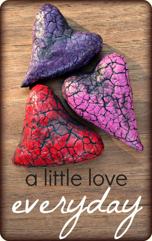 Paper Mache Heart Magnets Set Crackled Recycled Decor