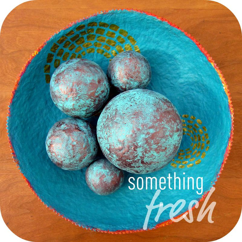 Copper and Turquoise Blue Handmade Papier Mache Accent Balls, Set of Five Decorative Spheres in Assorted Sizes MADE TO ORDER - product images  of
