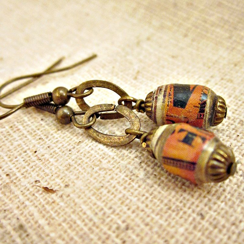 Dangle Earrings with Handmade Paper Beads: Tearsheets - product images  of
