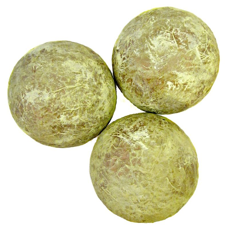 Green and Gold Handmade Papier Mache Accent Balls, Set of Three Decorative Spheres MADE TO ORDER - product images  of