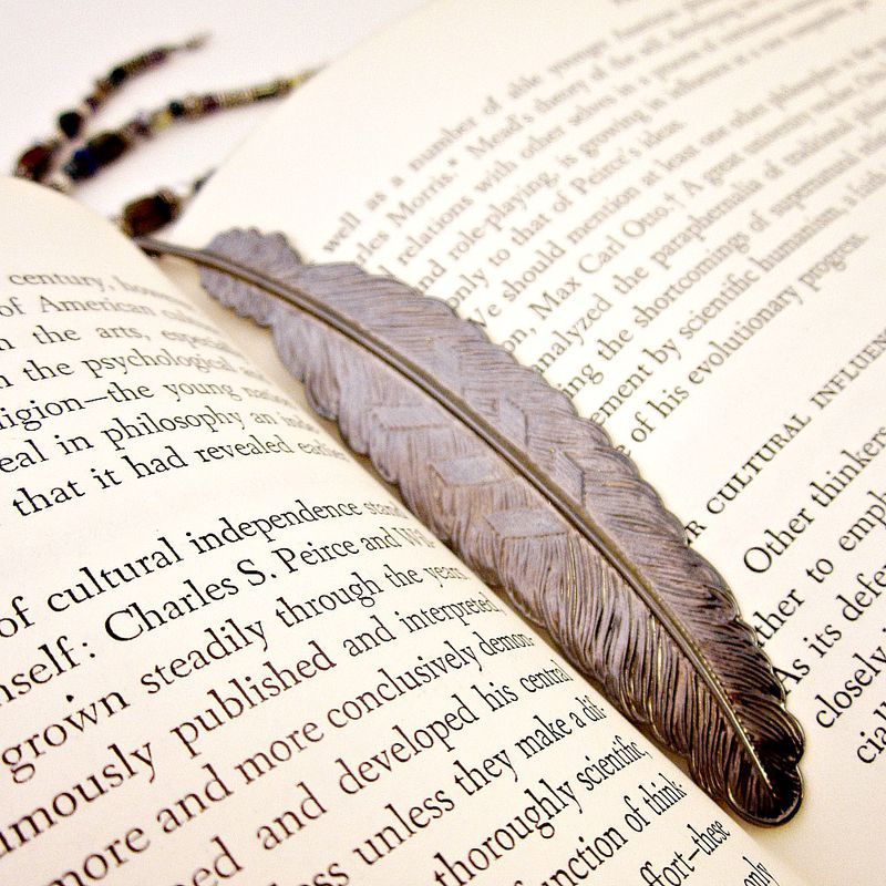 Beaded Feather Bookmark with Gunmetal Finish and Three Beaded Dangling Strands - product images  of