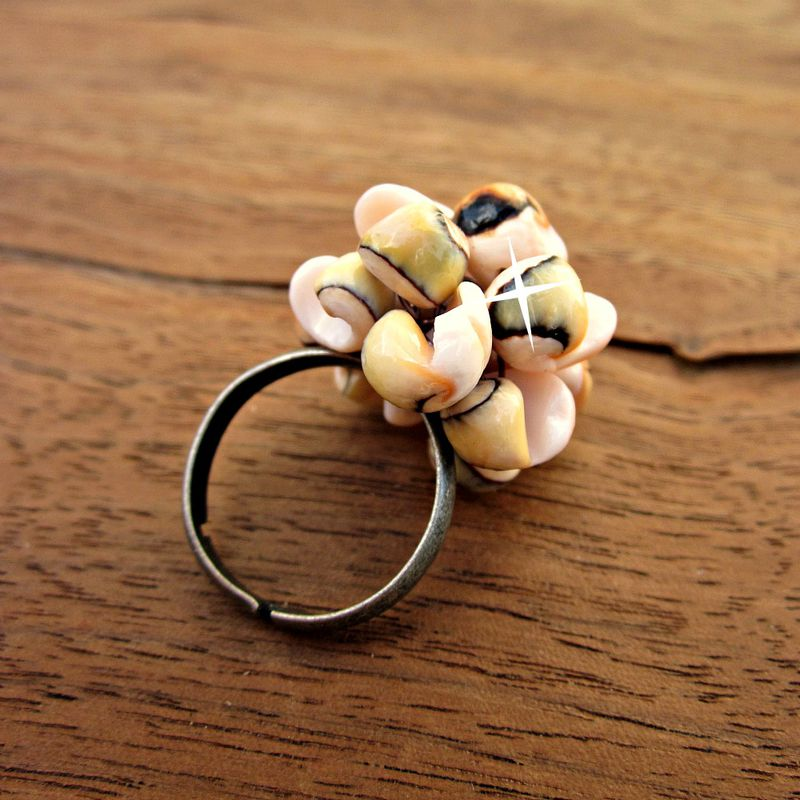 Adjustable Rustic Silver Cocktail Ring Wired with Miniature Seashells - product images  of