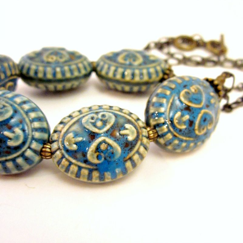 Ceramic Blue Green Chunky Bead and Rustic Brass Chain  Adjustable Necklace: Sugar Skull - product images  of