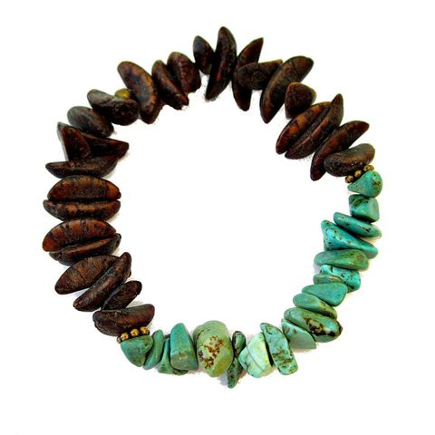 Women's,Stretch,Bracelet,with,Green,Howlite,and,Natural,Seed,Pod,Beads,women's beaded stretch bracelet, adjustable stretch bracelet, stone and seed stretch bracelet, green and brown women's stretch bracelet