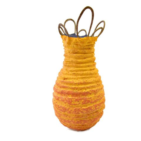 Handmade,Yellow,Orange,and,Blue,Paper,Mache,Wet,Vase,Recycled,Decor:,Scribble,salvaged paper decor, handmade papier mache vase, handmade paper mache vase, decorative reed diffuser bottle, unbreakable wet vase, yellow and blue vase, recycled paper home accents, recycled plastic home accents