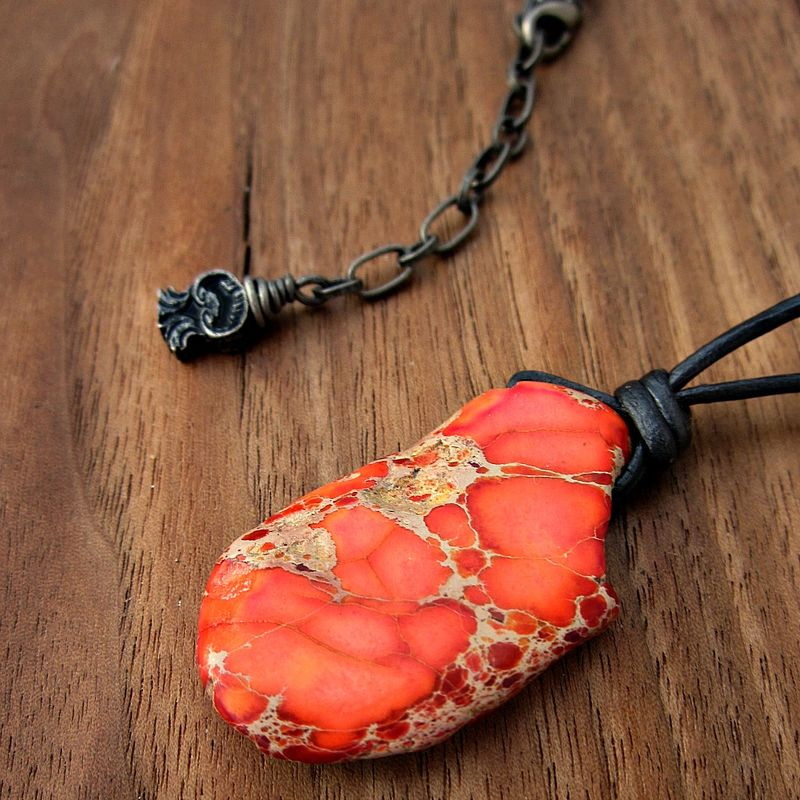 Adjustable Jasper Pendant and Leather Cord Necklace - product images  of