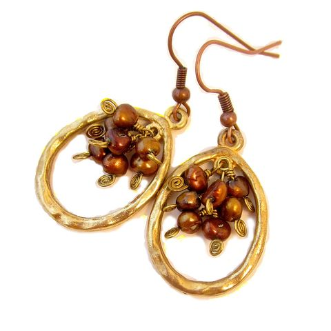 Gold,and,Copper,Hoop,Dangle,Earrings,with,Pearl,Cluster,gold hoop dangle earrings, copper pearl hoop dangle earrings, beaded hoop earrings, gold hoops on copper earwires, pearl and gold hoop earrings, gilt gold hoop earrings