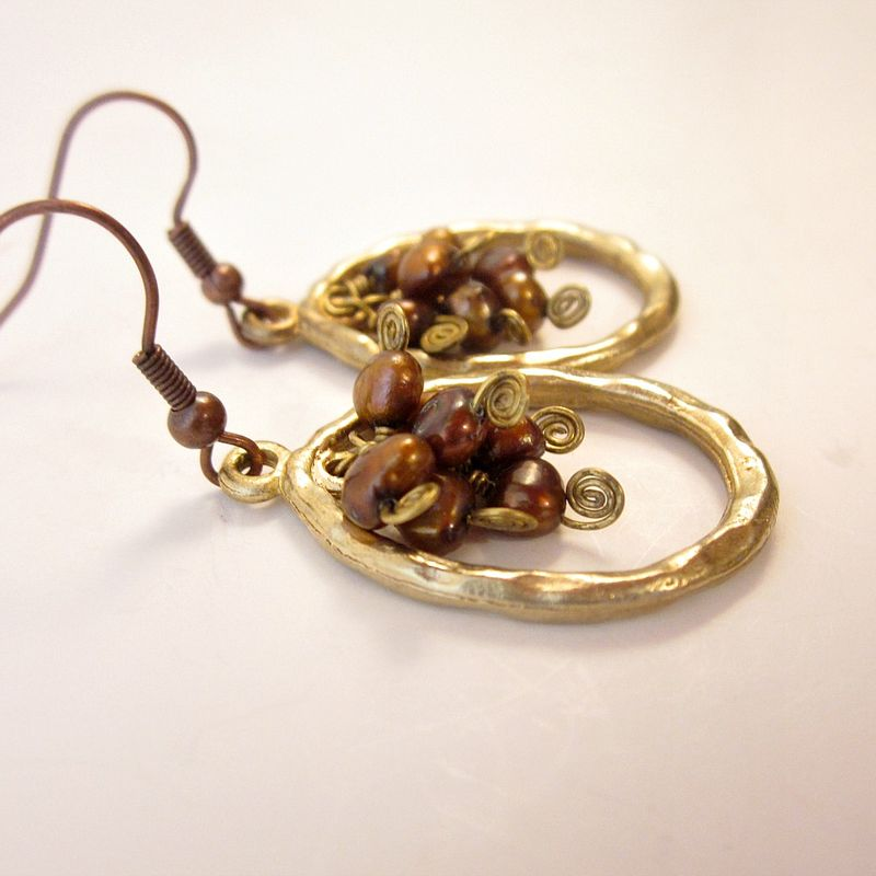 Gold and Copper Hoop Dangle Earrings with Copper Pearl Cluster - product images  of
