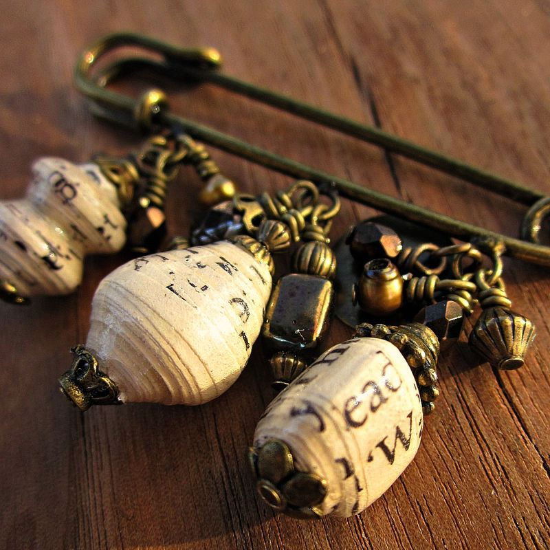 Large Bead Embellished Rustic Brass Scarf Pin: Museo - product images  of