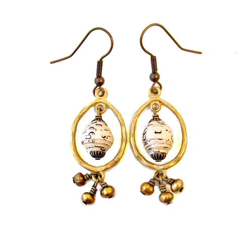 Gold,and,Copper,Hoop,Dangle,Earrings,with,Paper,Beads,Pearls,gold hoop beaded dangle earrings, dangle hoop earrings with paper beads, paper bead earrings, paper bead hoop earrings, gilt gold earrings, recycled jewelry, paper jewelry