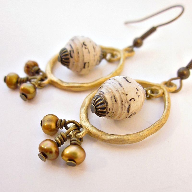 Gold and Copper Hoop Dangle Earrings with Paper Beads and Pearls - product images  of