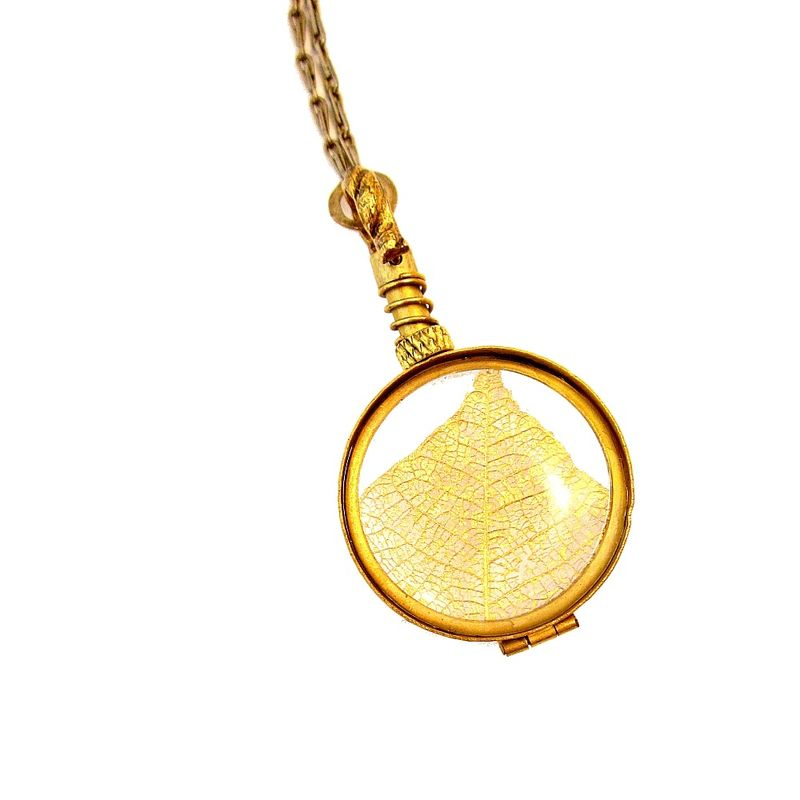 Long Brass Chain Necklace with Pressed Leaf Pendant - product images  of