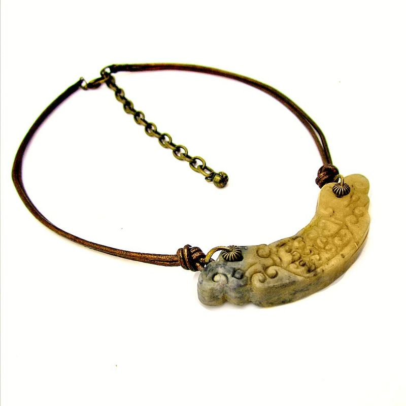 Metallic Leather Cord Necklace with Rustic Carved Jade Pendant - product images  of