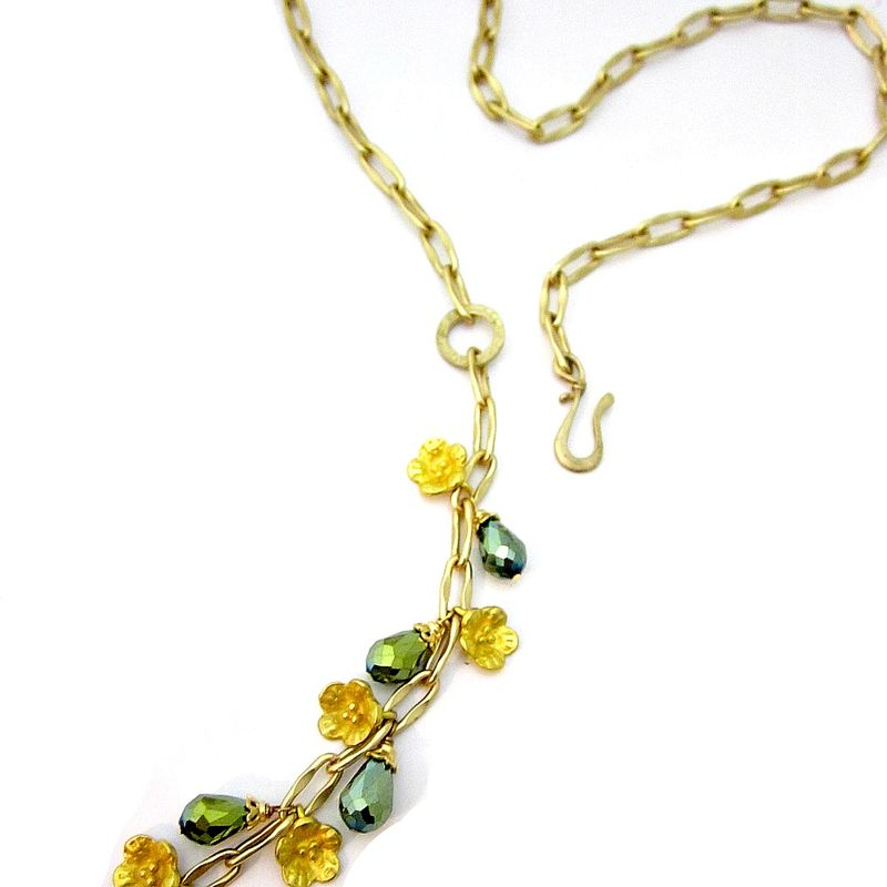 Long Gilt Gold Chain Lariat with Green Crystal and Leaf and Flower Charms - product images  of