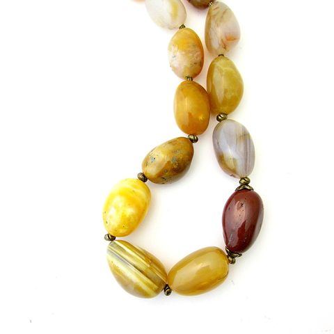 Chunky,Yellow,Agate,Beaded,Necklace:,Sunray,chunky yellow agate necklace, toggle and clasp agate necklace, big bold yellow agate necklace, soft yellow stone necklace