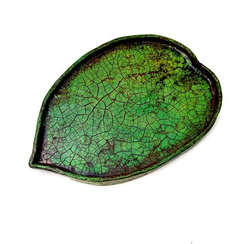 Handmade,Paper,Mache,Crackled,Green,Leaf,Tray:,Verdant,Tray,small green paper mache tray, decorative green leaf paper mache tray, crackle finish decor accents, leaf tray, tray collection, paper mache decor, paper mache accents, recycled papier mache decor