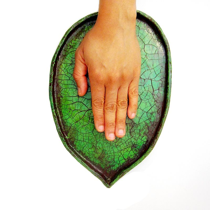 Handmade Paper Mache Crackled Green Leaf Tray: Verdant Tray - product images  of