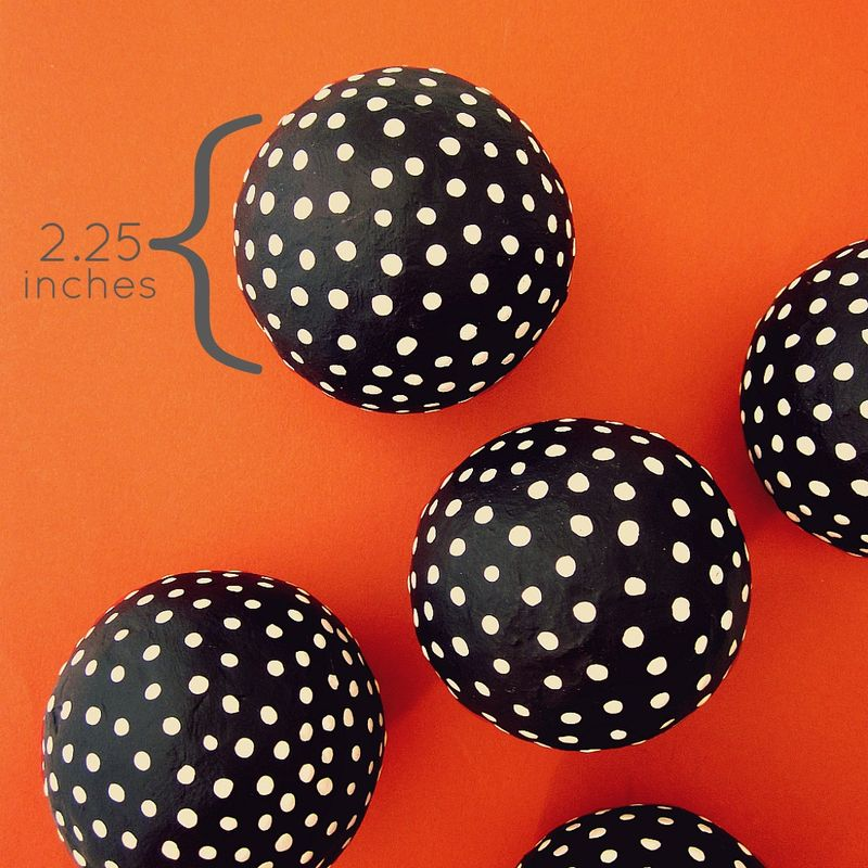 Black and White Handmade Papier Mache Accent Balls, Set of Five Decorative Spheres MADE TO ORDER - product images  of