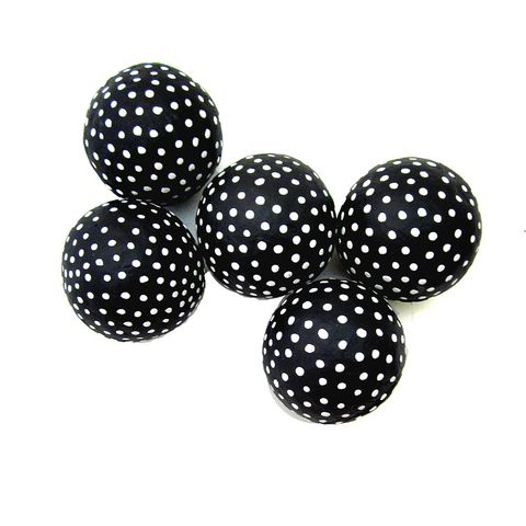 Black,and,White,Handmade,Papier,Mache,Accent,Balls,,Set,of,Five,Decorative,Spheres,MADE,TO,ORDER,polka dot decor accents, recycled home accents, paper mache accent balls, decorative accent spheres, black and white decorative balls, set of five accent balls, balls for centerpiece bowls, papier mache sculpture for sale