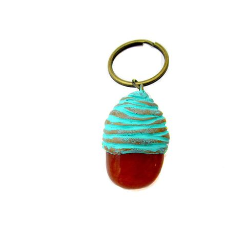 Natural,Polished,Carnelian,and,Clay,Key,Ring,stone key ring, stone keyring, stone and clay keychain, handmade key ring, cream, gold, aqua key ring, handmade accessories, polymer clay keyring