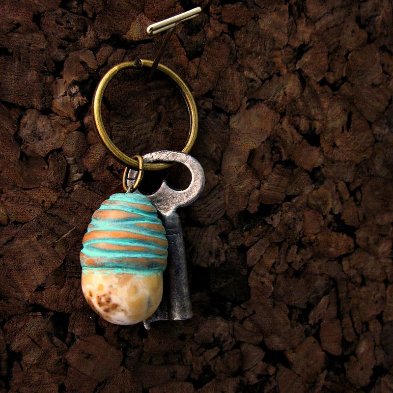 Natural Polished Stone and Clay Key Ring - product images  of