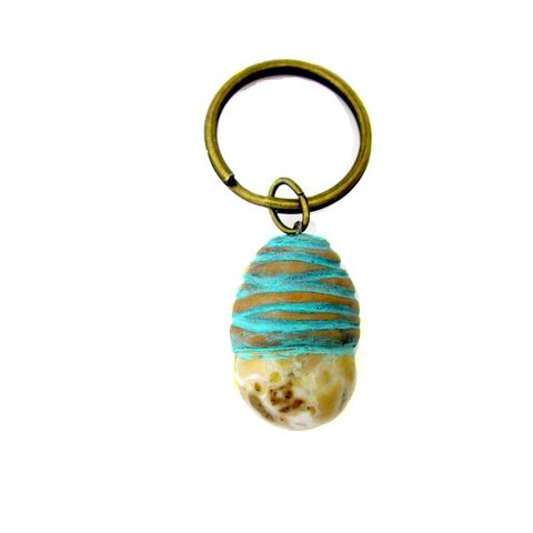 Natural,Polished,Stone,and,Clay,Key,Ring,stone key ring, stone keyring, stone and clay keychain, handmade key ring, cream, gold, aqua key ring, handmade accessories, polymer clay keyring