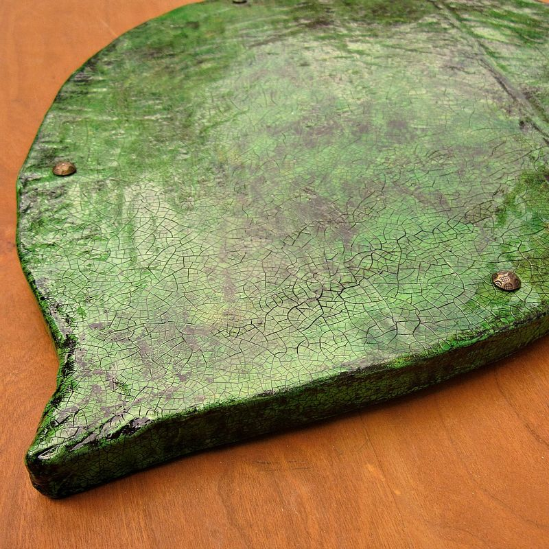 Large Handmade Paper Mache Crackled Green Leaf Tray: Lush Tray - product images  of