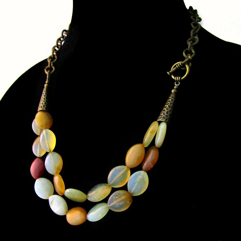 Soft Yellow Agate Two Strand Beaded Necklace with Side Toggle Clasp: Melondrop - product images  of